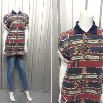 90s Nautical Polo Shirt Oversized Shirt Soft Grunge Hipster Clothing Cotton Aztec Nava