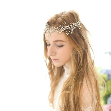 Crystal Pearl Rhinestone Wedding Bridal Headband Handmade Bridal Hat Special Occasion Hair Accessory Head wear