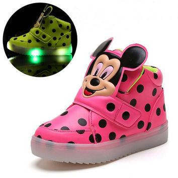 children shoes with light new spring sport running girls fashion cartoon minnie sneakers kids led breathable boys shoes 3 colors