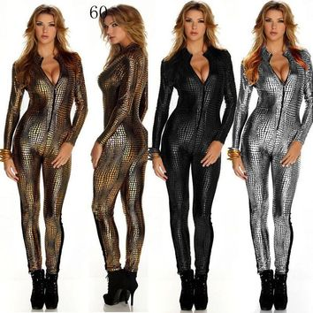 2018 Stage Outfit Faux Leather Snake Print Bodysuits Sexy Night Club Rompers Women Jumpsuits Full Sleeve Full Length Playsuits