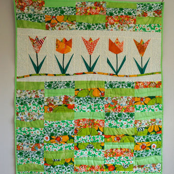 Girls Patchwork Quilt, Kids Bedding, Toddler Patchwork Blanket, Childs Lap Quilt, Single Bed Quilt, Colorful Green and Orange Floral Quilt