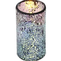 "6"" Decorative Silver Glass Mosaic Wax Flameless LED Lighted Pillar Candle"