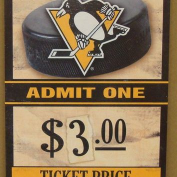 "PITTSBURGH PENGUINS GAME TICKET ADMIT ONE GO PENGUINS WOOD SIGN 6""X12'' WINCRAFT"
