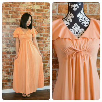 Vintage Early 70s Coral Maxi Dress
