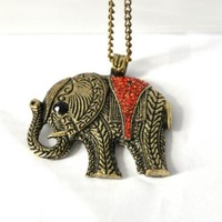 Leegoal Elephant Vintage Retro Style Long Necklace Jewelry Pendant