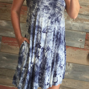 Tied Up in Tie Dye Pocket Dress: Blue