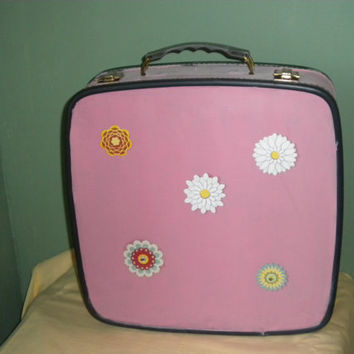 Vintage Pink Up Cycled Suit Case