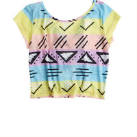 Global Print Bow Back Tee
