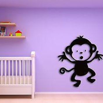 Wall Sticker Monkey Funny Decor for Kids Nursery Room Unique Gift z1382