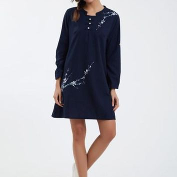 Mandarin Collar A-Line Day Dress