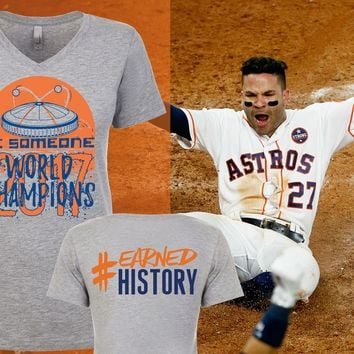 "V-Neck #EARNED HISTORY Houston's Throwback Baseball ""Be Someone"" Edition"