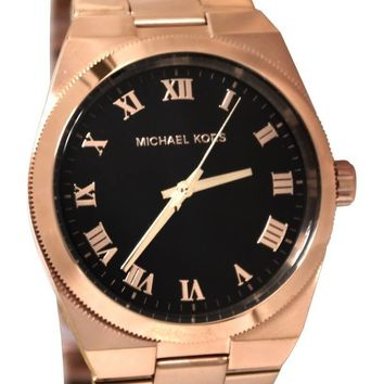 Michael Kors MK5937 Channing Black Dial Women Rose Gold-Toned SS Watch