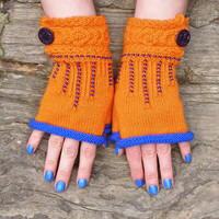 Marching band half gloves, Orange knit wrist warmers, Warm gloves for girl friend, Button up arm gloves