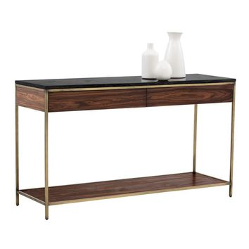 STAMP YELLOW POPLAR WOOD SURROUNDING METAL FRAME  WITH ANTIQUE BRASS FINISH SOLID BLACK MARBLE TOP CONSOLE TABLE