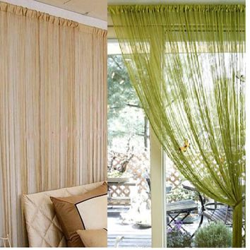 300x300cm solid beige grey coffee purple white black blue window screening rod pocket string curtain door divider curtains