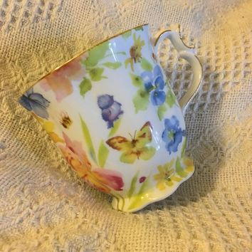 Chintz Floral Porcelain China Mug Nantucket Vintage Ceramic Scalloped Cup With Flowers Butterflies Bird Bee and Gold Gilt Accent
