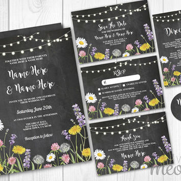 Wedding Invitations Set Template Rustic Package Printable Invite Save The Date INSTANT DOWNLOAD Lavender Lights Chalk Personalize Editable