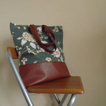 Large Tote Bag, Canvas Tote Bag, Leather Canvas Bag, Flowers Bag, Green Brown Bag,Gift For Woman, Christmas Gift, Shopping Bag