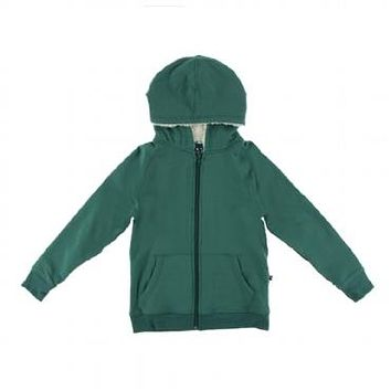 Kickee Pants Botany Collection Solid Fleece Zip Front Hoodie with Sherpa-lined Hood