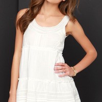 Billabong Hidden Bloom Ivory Crochet Dress
