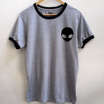 Alien Gray Ringer Tee Shirt