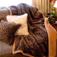 Posh Pelts Leopard Faux Fur Throw Blanket and Pillow Set - Leopard Faux Fur Throw Blanket and Pillow Set - Blankets & Throws - Bed & Bath