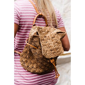 Woven Straw Backpack, Tan/ Camel