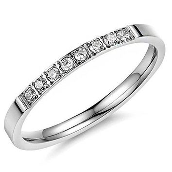 Women 2mm Titanium Stainless Steel Cubic Zirconia CZ Inlay White Gold Ring Wedding Engagement Silver Band
