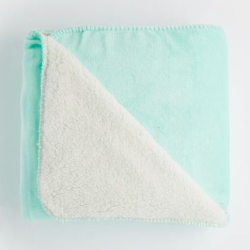 Mint Plush Faux Sherpa Throw | Bedding | rue21