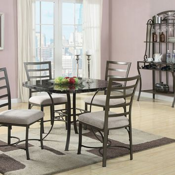 Acme 70057SQBK 5 pc daisy collection rounded square black faux marble top and metal frame table set and fabric upholstered chairs