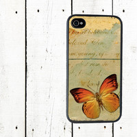 Shabby Butterfly iPhone 4 Case, Orange Butterfly iPhone Case - iPhone 5 Case - Gifts Under 25
