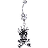 Crystalline Gem Skull Crown and Crossbones Belly Ring | Body Candy Body Jewelry