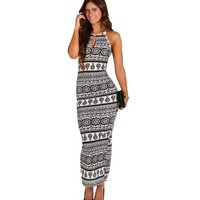 Sale-black Floral Damask Print Maxi Dress