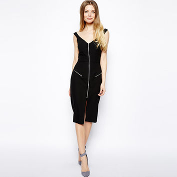 Black V-neck Double Zipper Bodycon Sleeveless Mid Dress with Slit