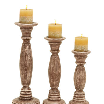 Wooden Candle Holder In Brownish Rustic Finish - Set Of 3