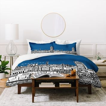 Bird Ave Ann Arbor Navy Duvet Cover