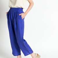 Vintage 90s Electric Blue Silk High Waist Cropped Leg Trousers | S