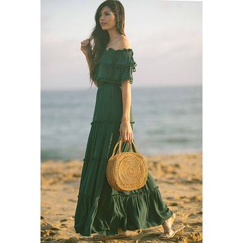 Maddie Hunter Green Off the Shoulder Maxi Dress