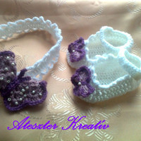 Crochet Baby Booties and headband made in purple and white with a beautiful crochet  butterfly detail