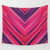 Modern Red / Black Stripe Abstract Stream Lines Texture Design (Symmetric edition) Wall Tapestry by Badbugs_art