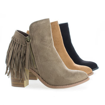 Buffy21 Chestnut By Wild Diva, Fringe Western Stacked Heel Ankle Boots