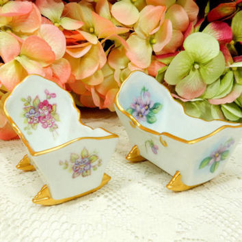 2 Vintage Miniature Porcelain Baby Cradles Doll House Hand Painted Aritst Signed