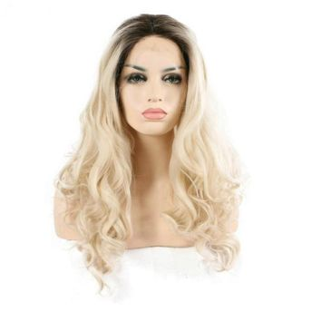 Heat Resistant Fiber Ombre Blonde Wavy Synthetic Lace Front Wigs