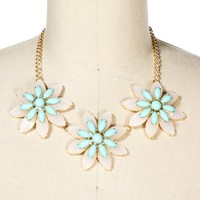 GoldBlushMint Triple Flower Statement Necklace