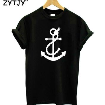 Navy Anchor Print Women Tshirt Cotton Casual Funny t Shirt For Lady Girl Top Tee Hipster Tumblr Drop Ship HH-117