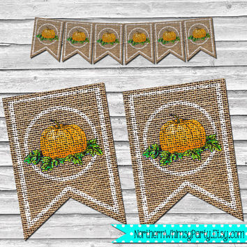 Fall or Thanksgiving Burlap Pumpkin Banner – DIY Printable Home Decor –  Autumn Decoration – Rustic Stamped Burlap Banner - INSTANT DOWNLOAD