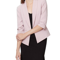 LE3NO Womens Fully Lined 3/4 Sleeve Open Front Tuxedo Blazer Jacket with Pocket