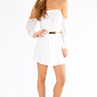 Sweet Off The Shoulder Chiffon Dress - Ivory