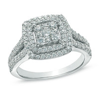 1 CT. T.W. Composite Diamond Double Frame Engagement Ring in 14K White Gold