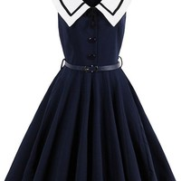 Atomic Dark Blue Navy Crew Swing Dress